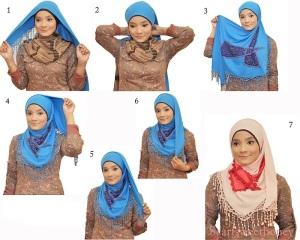 tutorial Hijab segi empat ala aprilia jasmin